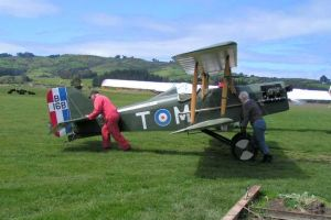Tom's replica SE5a Bi Plane which regularly flies over Dunedin